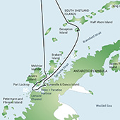 Route Map - Antarctic Peninsula with South Shetland Islands